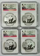Lot Of 4 2012 China Panda 1oz Silver Coins Ngc Ms70 Early Releases Panda Label