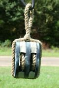 Weathered Look Commercial Fishing Decor Wooden Boat Rope Pulley, 14 1/2, Wp-1