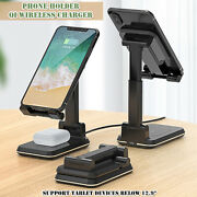 2 In 1 Qi Wireless Charger Bracket Telescopic Folding Phone Mount Tablet Multi