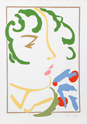 Frank Gallo Girl With Green Hat Screenprint Signed And Numbered In Pencil