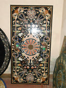 4and039x2.5and039 Black Marble Table Top Dining Center Inlay Lapis Mosaic Home Decor G556