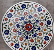36and039and039 White Marble Table Top Dining Coffee Mosaic Lapis Inlay Home Decor Round