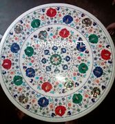 3and039 White Marble Table Top Coffee Center Inlay Mosaic Lapis Home Decor Ff128