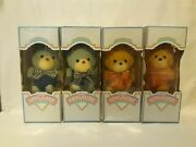 Vintage 1984 A Little Applause Terry Cloth Cat Dog Plush Rattle In Box Lot Of 4
