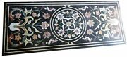 4and039x2.5and039 Black Marble Coffee Center Outdoor Table Top Malachite Inlay Art Decor