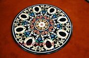 Marble Dining Coffee 3and039x3and039 Corner Center Room Hall Round Table Top Mosaic Inlay