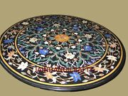 2and039x2and039 Marble Black Table Top Inlay Antique Semi Precious Stones Home Room Decor
