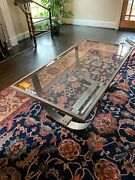 Roche Bobois Beveled Glass Coffee Table With Metal Barrel Strap Base
