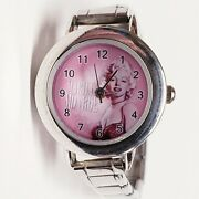 Rare Marilyn Monroe Pink Faced Womenand039s Watch Stretch Band - Keeps Perfect Time