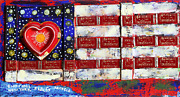 Konstantin Bokov Flag Found Art Collage On Wood Signed And Dated