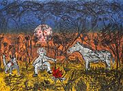 Roy De Forest Untitled - Camping With Dog And Horse Lithograph On Arches Sign