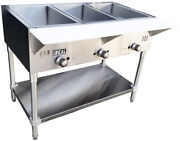 New Commercial Gas 3 Well Aerohot Steam Tables. Made In Usa By Ideal. Etl Listed