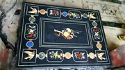 4and039x2.5and039 Black Marble Table Top Coffee Center Inlay Lapis Mosaic Home Decor F110