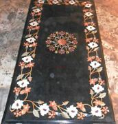 4and039x2.5and039 Dining Lunch Breakfast Coffee Corner Table Black Top Inlay Malachite