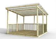 Discount Decking Kit With Pergola And Vistalux Roof With Handrails 3.6m X 3.6m