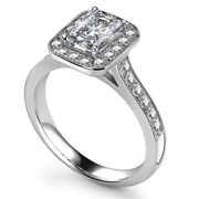 Diamond Solitaire Engagement Ring Emerald Cut 0.55cts G-si1 Gia Certificate