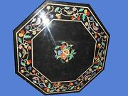 36 Black Marble Coffee Dining Table Top Octagon Inlay Work Mosaic Malachite