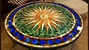 3and039 Black Marble Table Top Coffee Center Inlay Mosaic Lapis Home Decor F130