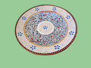 4and039 White Marble Table Top Dining Coffee Center Inlay Lapis Decor A123