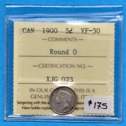 Canada 1900 Round 0and039s 5 Cents Five Cent Small Silver Coin - Iccs Vf-30