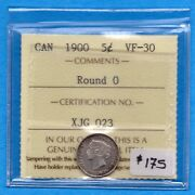Canada 1900 Round 0's 5 Cents Five Cent Small Silver Coin - Iccs Vf-30