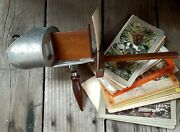 Antique Sun Sculpture Underwood And Underwood Viewer Stereoscope With 40 Cards