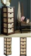 American Home Collection Vedette Distressed 5 Wicker Basket Storage Tower Cherry