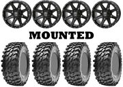 Kit 4 Maxxis Rampage Tires 32x10-14 On Frontline 308 Gloss Black Wheels 550