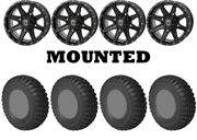 Kit 4 Sti Chicane Rx Tires 33x10-15 On Frontline 308 Gloss Black Wheels Can
