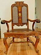 Antique Carved Hardwood Victorian High-back Throne Chair W/ Detailed Inlay
