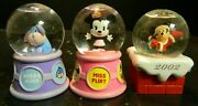 Vintage 3 Disney Mini Snow Globes 2 Cuties And 2002 Mickey Santa Clause Excell