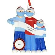 Personalized Masked Pandemic Survivor Family Of 3 Christmas Ornaments 2020 Gift