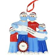 Personalized Masked Pandemic Survivor Family Of 4 Christmas Ornaments 2020 Gift