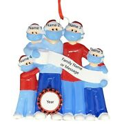 Personalized Masked Pandemic Survivor Family Of 5 Christmas Ornaments 2020 Gift