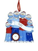 Personalized Masked Pandemic Survivor Family Of 6 Christmas Ornaments 2020 Gift