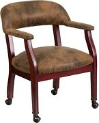 Flash Furniture Brown Microfiber Guest Chair With Accent Nail Trim And Casters New