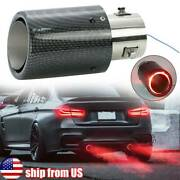 Carbon Fiber Red Led Exhaust Tip Tail Pipe 1.3-2.4 Inlet 2.5 Outlet 6.5 Trim