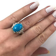 4.2 Ctw Natural Blue Turquoise And Diamond Solid 14k White Gold Huge Cocktail Ring