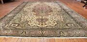 Early 1930and039s Antique Pistachio Green Wool Pile Armenian Hereke Area Rug 7x10ft
