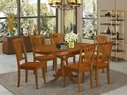 7pc Portland Oval Kitchen Dining Set Table + 6 Avon Wood Chairs In Saddle Brown