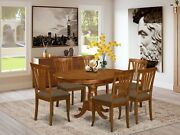 7pc Portland Oval Kitchen Dining Set Table + 6 Avon Padded Chairs Saddle Brown