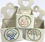 3 Vintage Ethan Allen Ceramic Made In Italy Wall Mount Box Salt Pocket Canisters