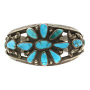 C. 1930s Navajo Turquoise Cluster And Silver Bracelet Size 7 Sold As Is