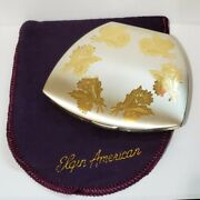 Vtg Elgin American Sterling Silver Powder Compact / Etched Flower Bouquet