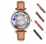 Genuine Leather Band Stainless Steel Memory Floating 36mm Charm Locket Watch