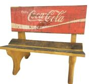 Coca-cola Wooden Doll Bench Vintage Toy Bench Advertising 12x11x7.5