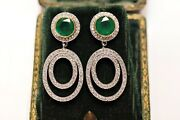 Perfect 18k Gold Natural Diamond And Emerald Decorated Pretty Earring