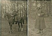 Wwi French Or German Military Photographs Soldier On Horseback Rifle Long Coat