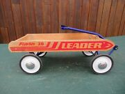 Antique Child Wood Flash Wagon Pull Toy In Great Condition Has 4 Wheels Great