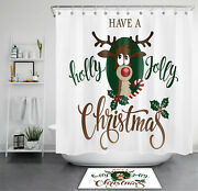 71 Christmas Funny Reindeer Shower Curtain And Hooks Bathroom Accessory Sets